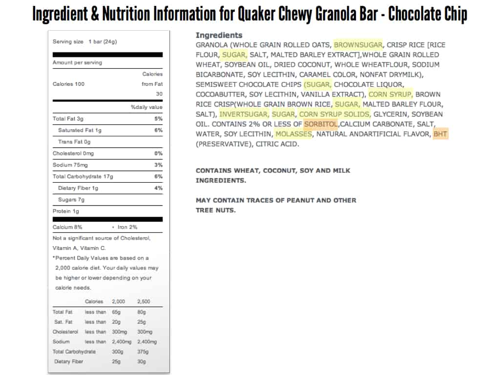 Leanwashing Is Used by Big Food To Make Food Appear Healthy Quaker Granola Bars Nutrition Facts