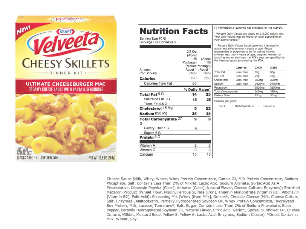 celebrity secret mac and cheese food label