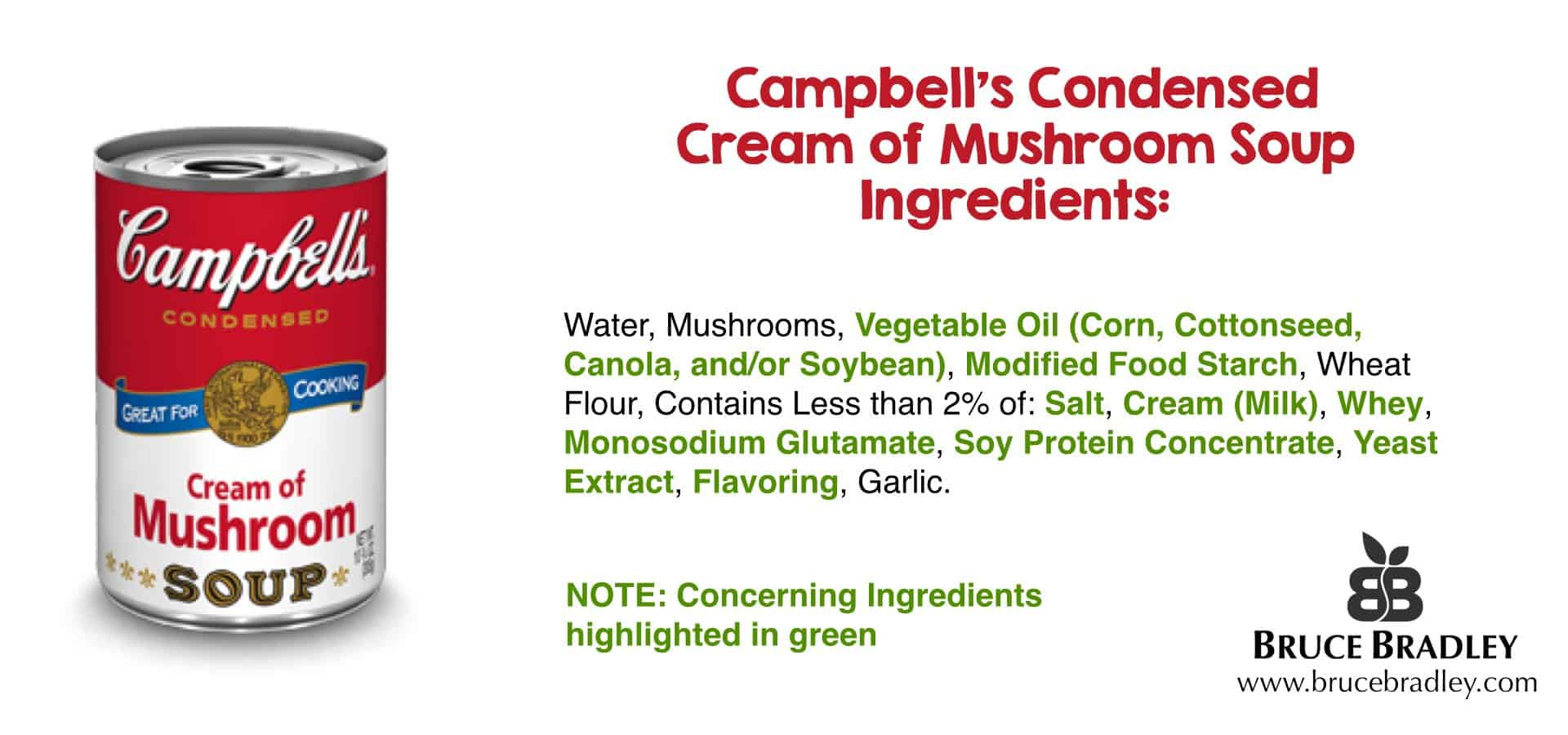 There are many concerning ingredients in condensed mushroom soup!