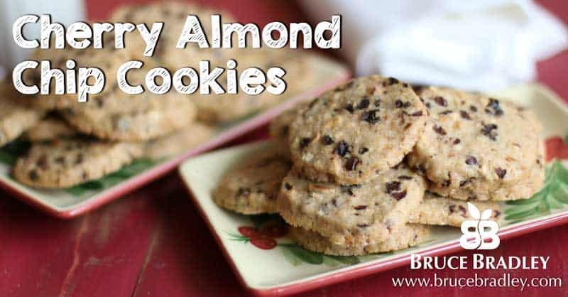 Bruce Bradley's Cherry Almond Chip cookies are a delicious holiday twist on the classic chocolate chip cookie!