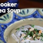 Bruce Bradley's Slow Cooker Split Pea Soup is a super easy, delicious meal that's filled with veggies!