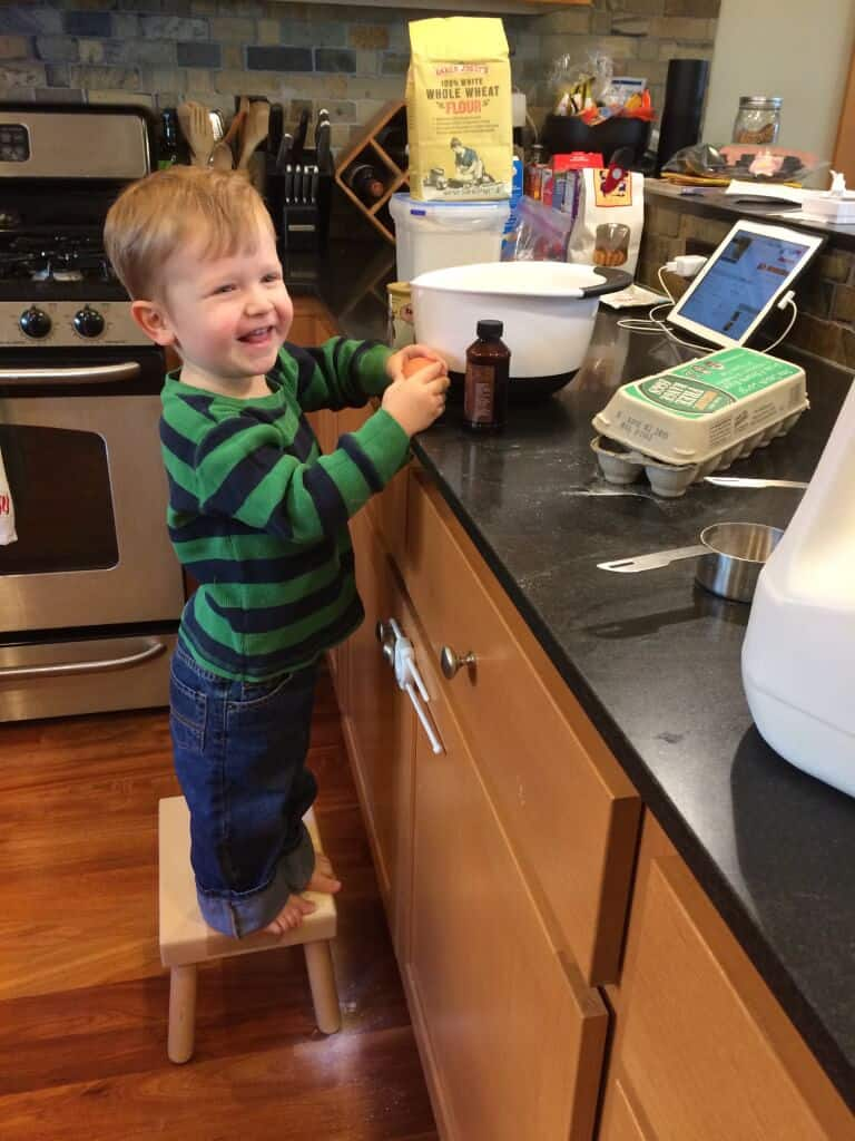 My nephew, Colin, is already getting in on the cooking action !