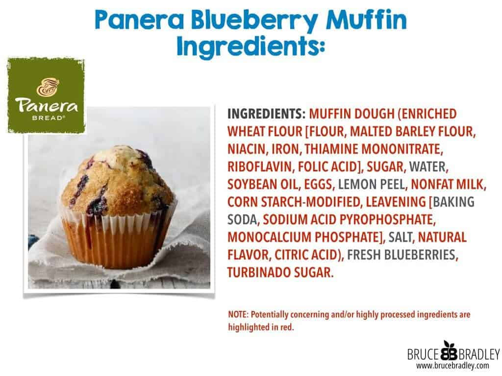 While Panera's Blueberry Muffin features a cleaner label than most, it still has quite a few processed ingredients.
