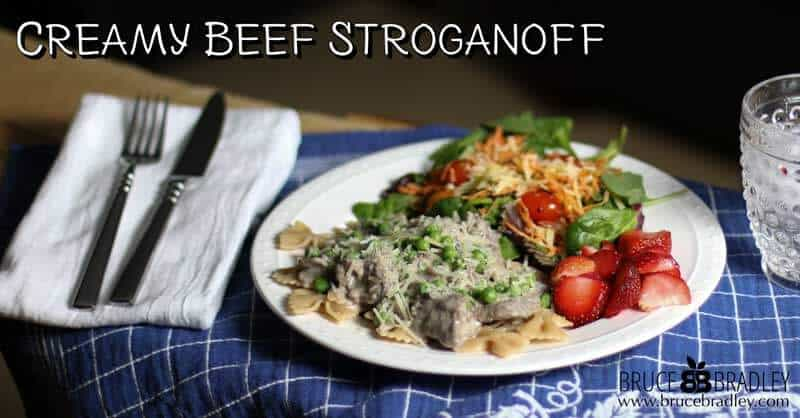 Bruce Bradley's Creamy Beef Stroganoff with Peas is a delicious, healthier take on traditional stroganoffs that's made with 100% real ingredients and lots of veggies.