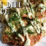 A delicious restaurant-inspired salmon recipe with mustard, dill, lemon juice and garnished with aioli!