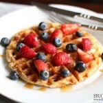 Bruce Bradley's one bowl, whole grain waffles are quick, easy, freeze well, and are made with 100% real ingredients. Top with some fruit and maple syrup and you've got a special breakfast you can make any day of the week!