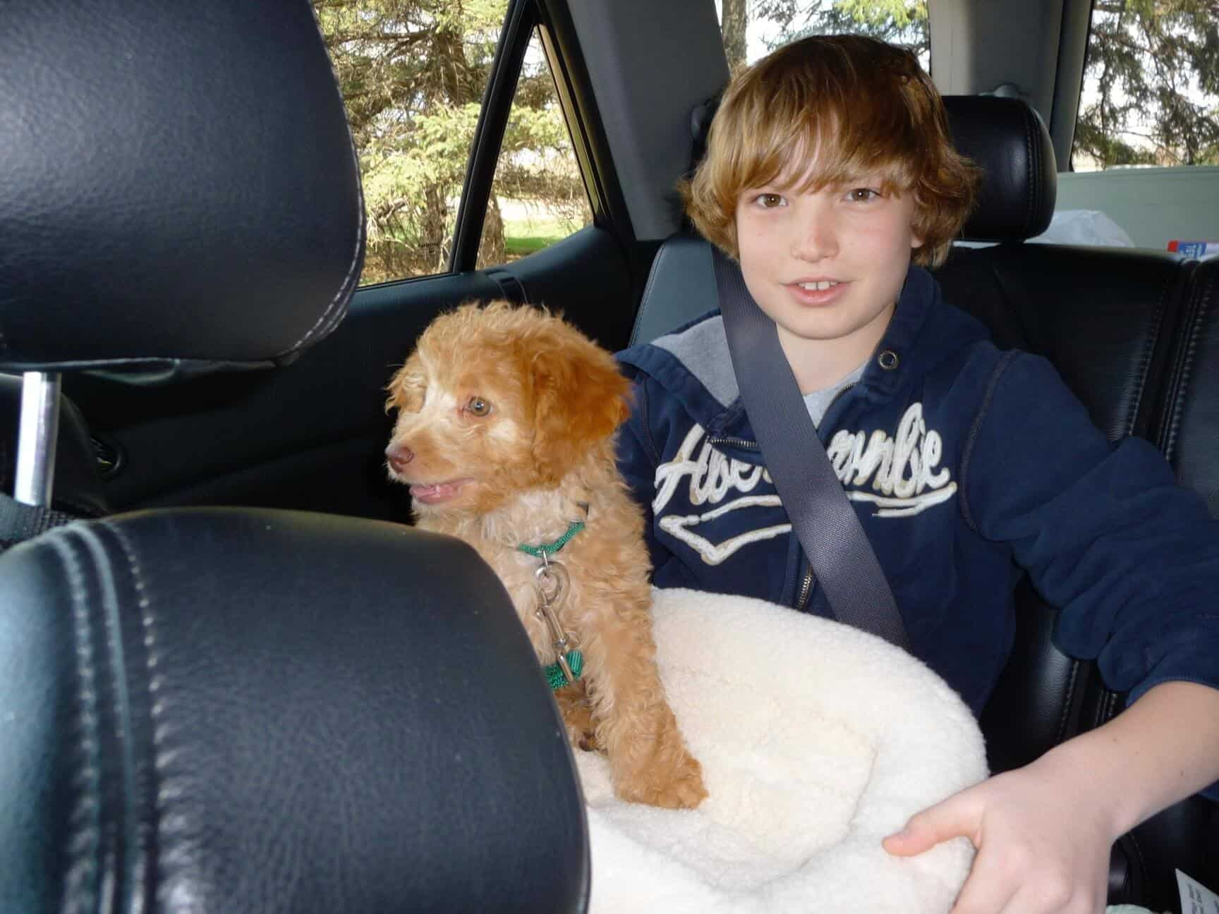 My son, Ben, and Katie the day we picked her up.